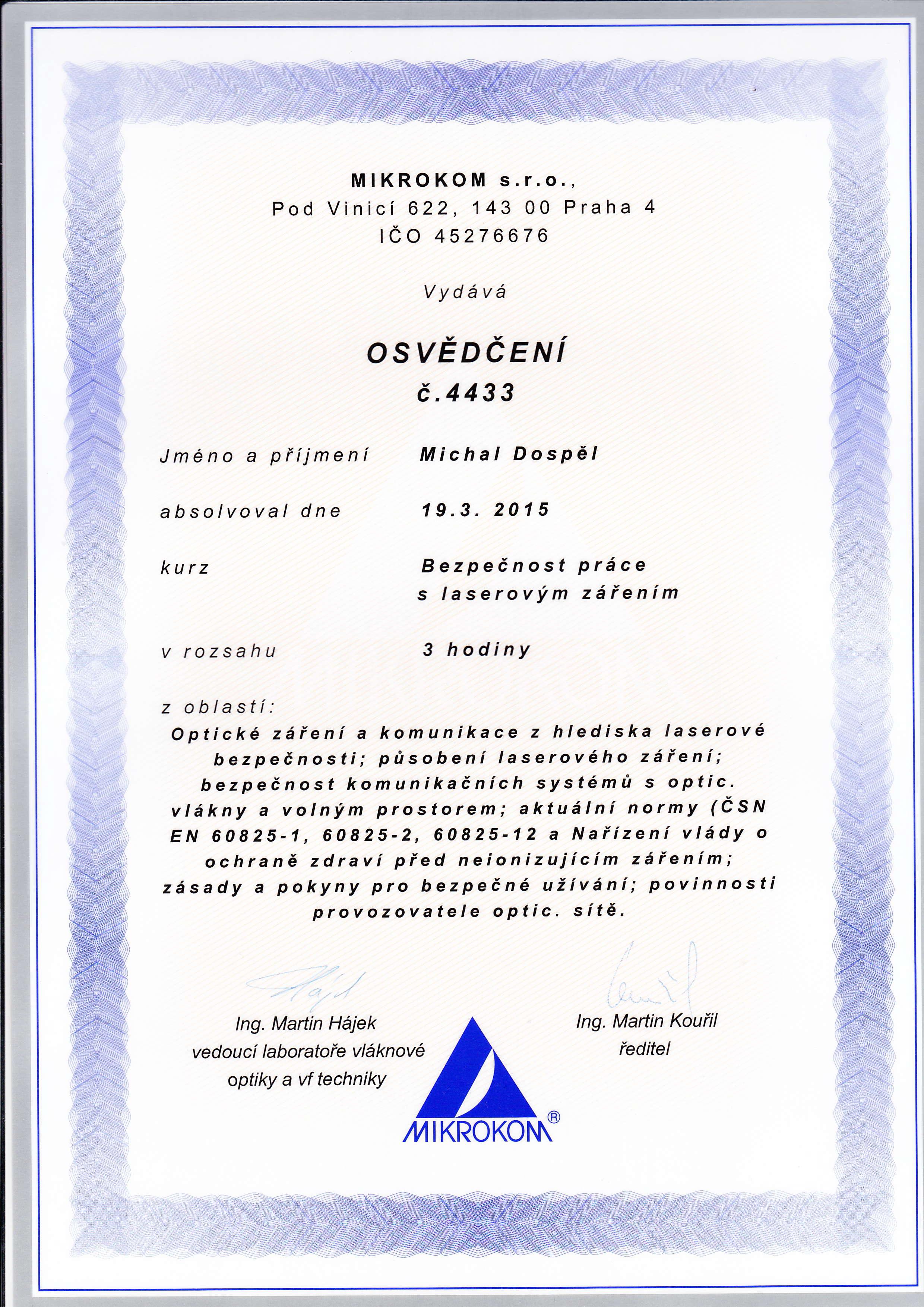 Certifikat Mikrokom laser Michal Dospel