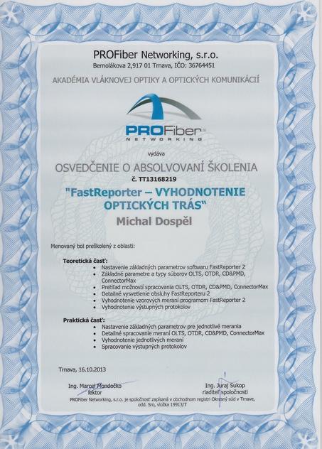 Certifikat fastreporter vyhodnocovanie optickych tras Michal Dospel