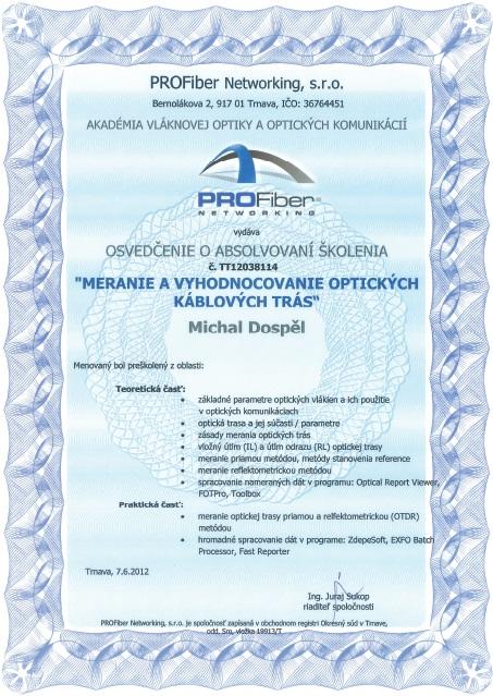 Certifikat meranie a vyhodnocovanie optickych tras Michal Dospel