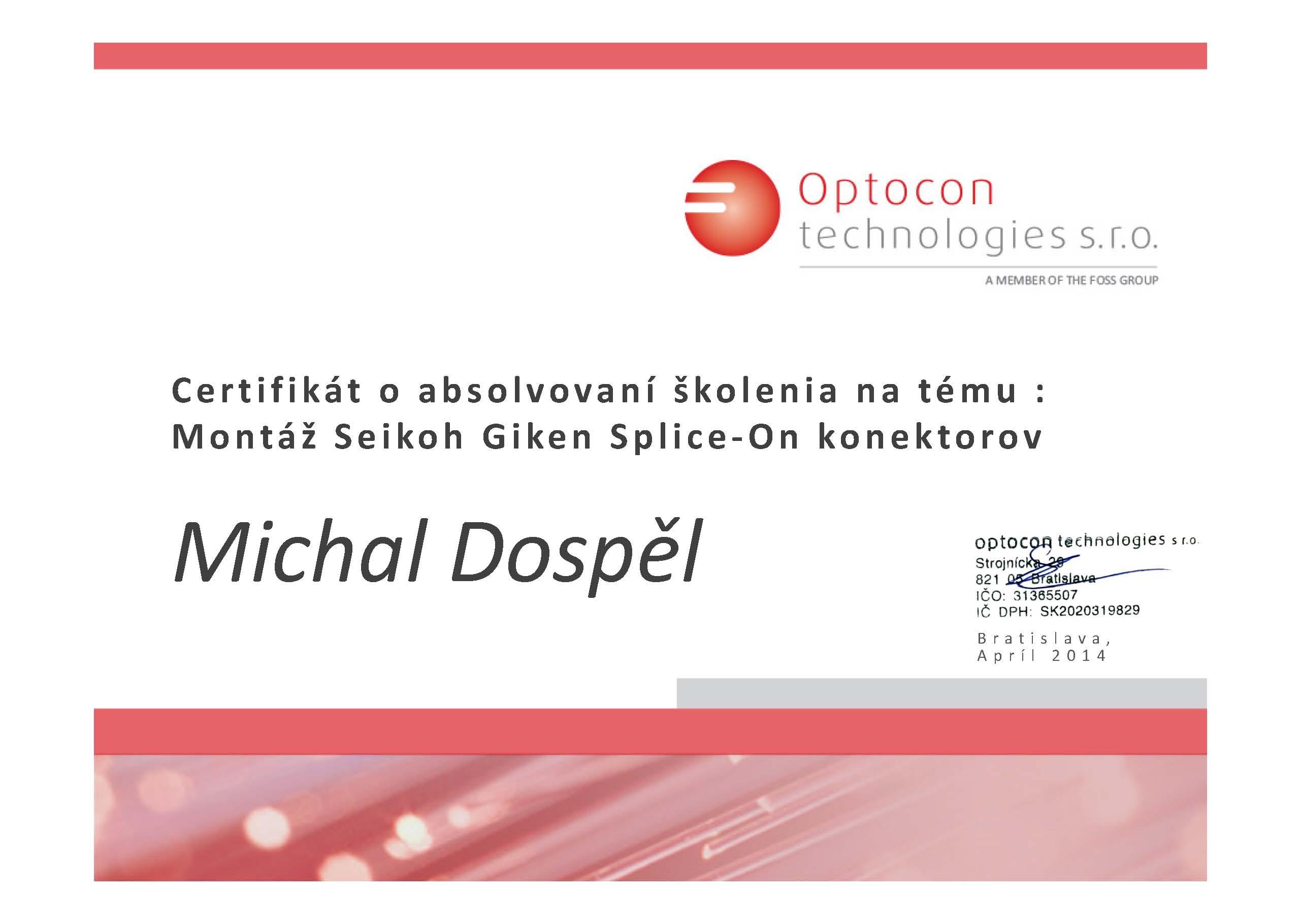 Certifikat Optocon technologies optika Michal Dospel