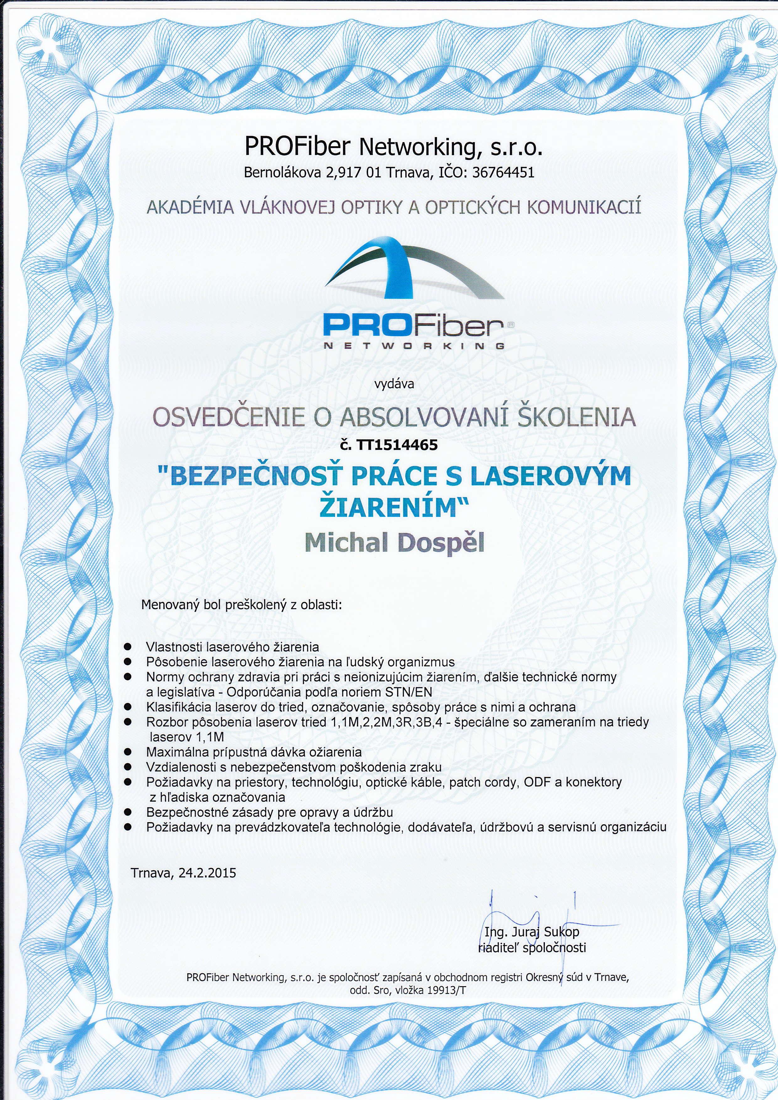 Certifikat Profiber laser Michal Dospel