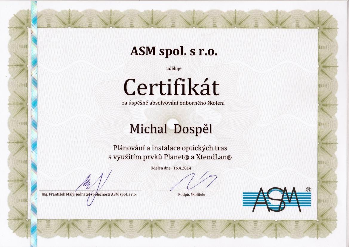Certifikat ASM optika Michal Dospel