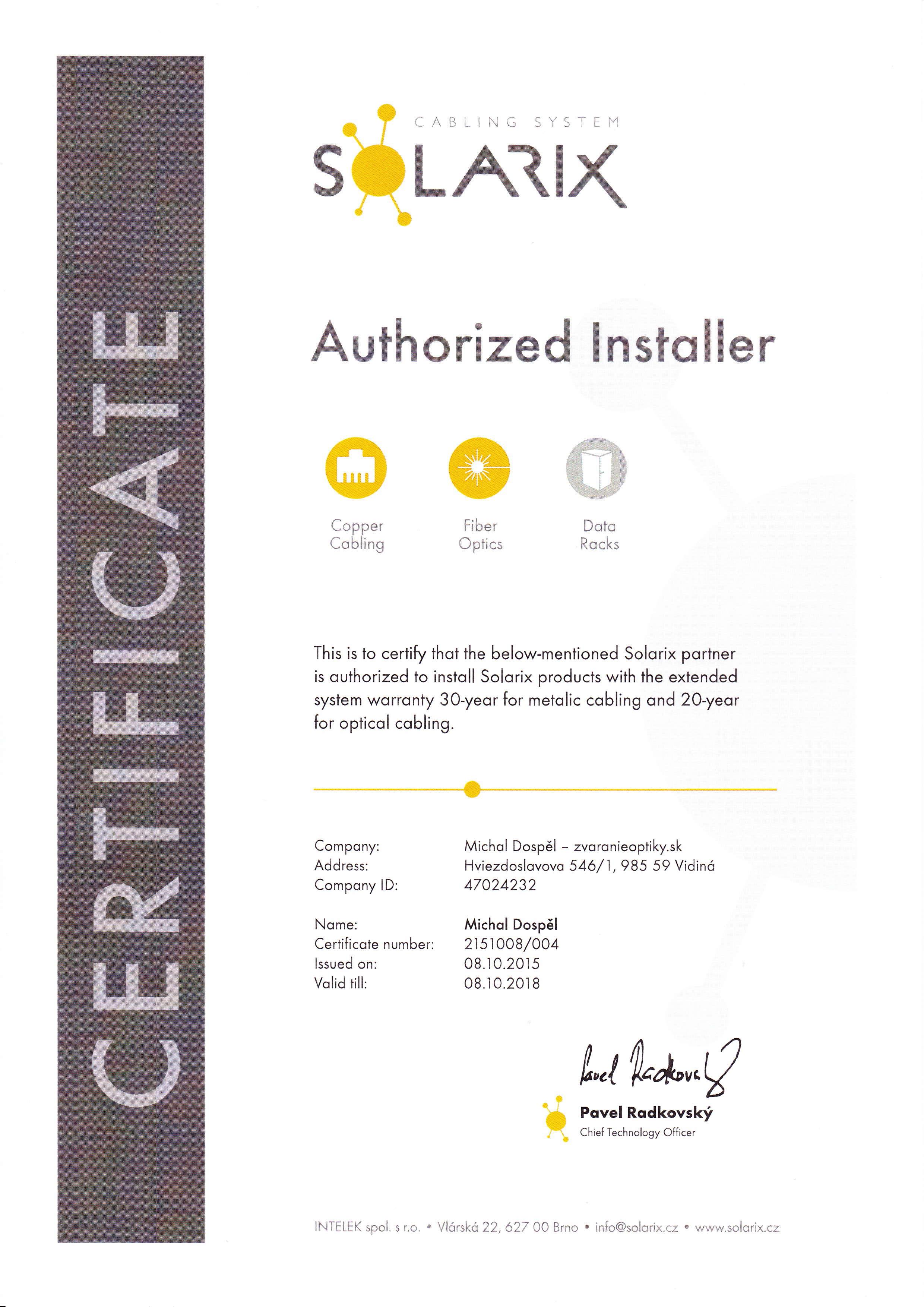 Certifikat Solarxi Michal Dospel