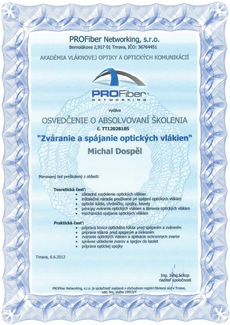 Certifikat zvaranie a spajanie optickych vlakien Michal Dospel