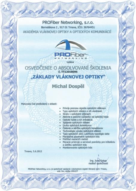 Certifikat zaklady vlaknovej optiky Michal Dospel