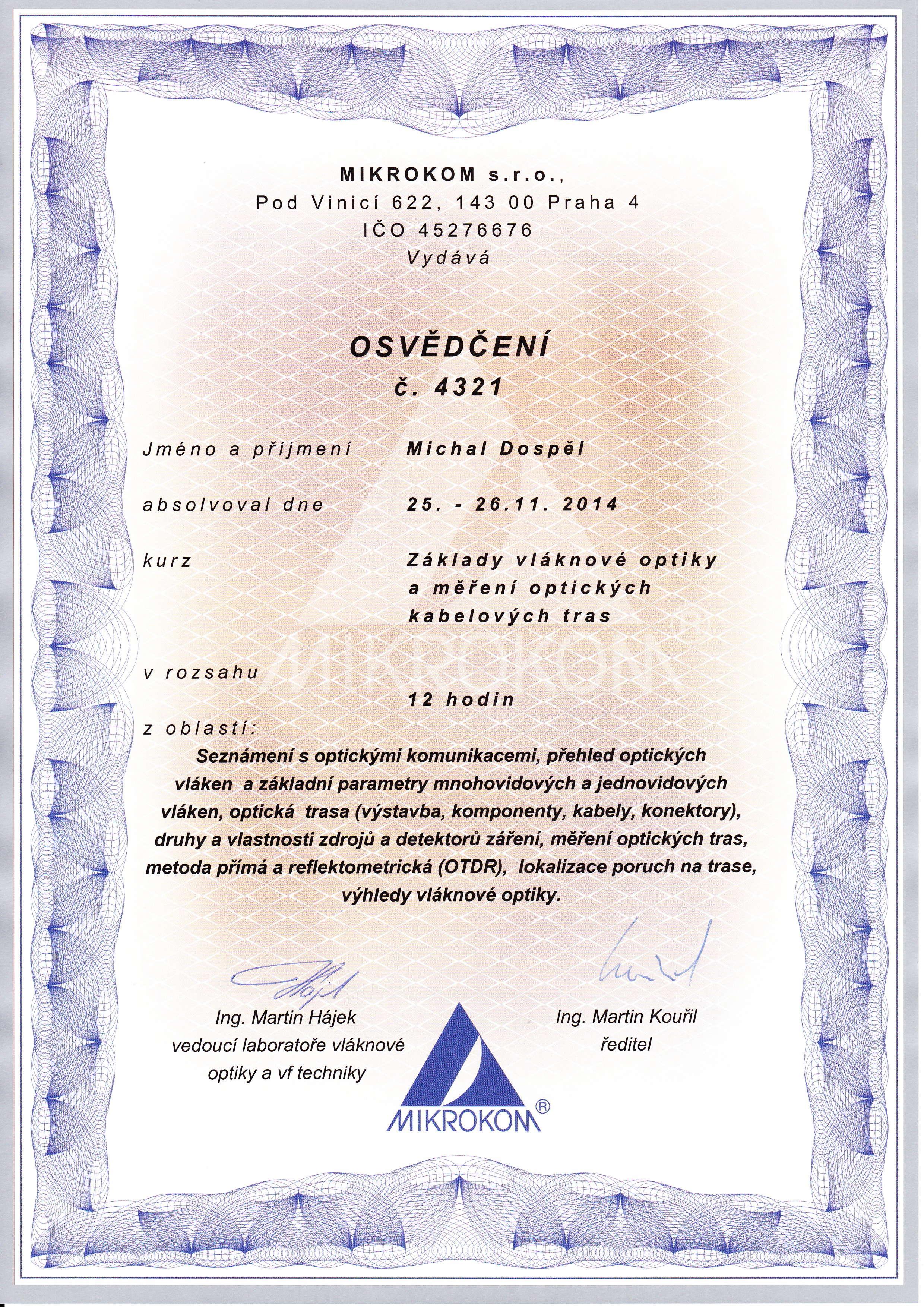 Certifikat Mikrokom CZ optika Michal Dospel